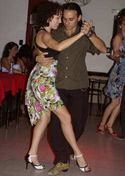 Dancing at a milonga in Buenos Aires