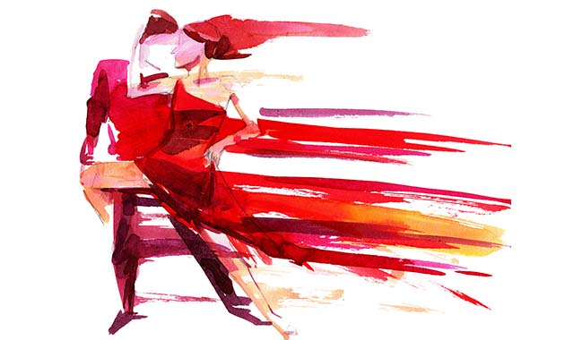 Fun energetic watercolor painting of tango dancers