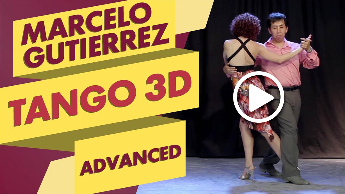 Marcelo Gutierrez teaching his Tango 3D class (an advanced tango lesson) with a student.